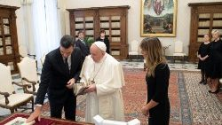 Pope Francis meets Spanish Prime Minister Pedro Sanchez and his wife in the Vatican