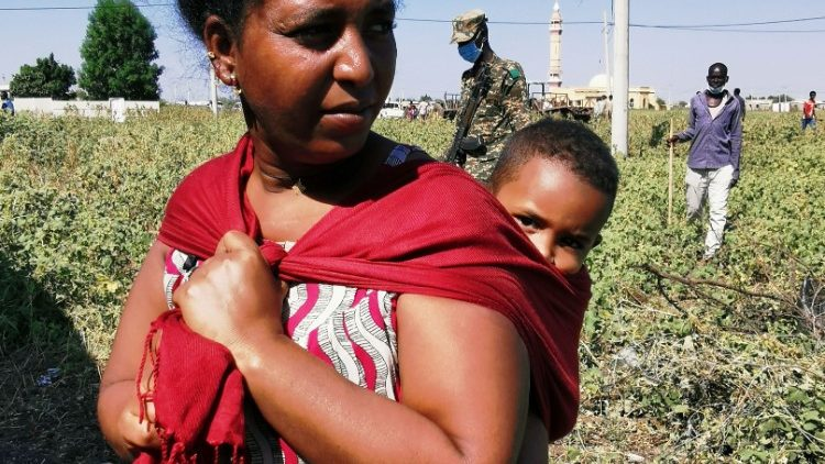 An Ethiopian woman now in a refugee camp at the Sudan-Ethiopia border town of al-Fashqa