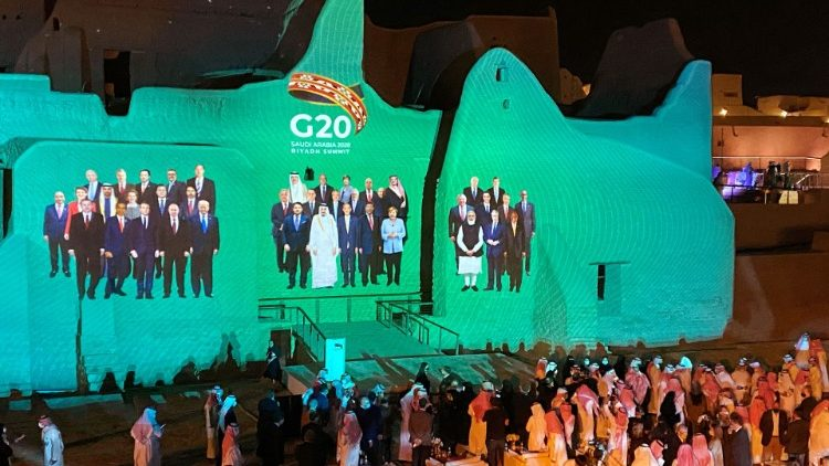 Family Photo of G20 Leaders' Summit is projected onto Salwa Palace in At-Turaif, in Diriyah - Saudi Arabia