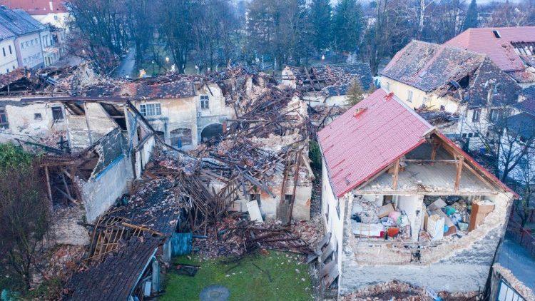 Damaged buildings in Petrinja, Croatia