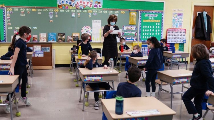 Children attend class at South Boston Catholic Academy