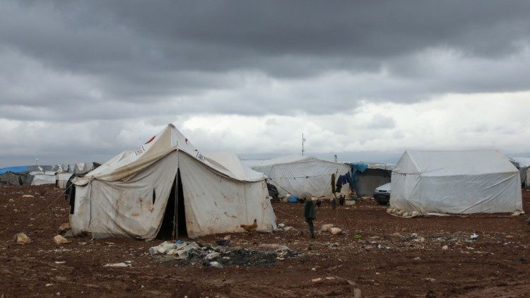 A chicken is seen outside a tent at an internally displaced Syrian camp, in northern Aleppo near the Syrian-Turkish border