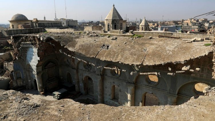 A view of several historic Churches of Hosh al-Bieaa damaged by so-called Islamic State militants
