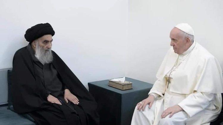 Pope Francis with the Grand Ayatollah Sayyid Ali Al-Husayni Al-Sistani