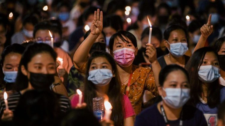 A candlelit protest in Yangon, Myanmar.