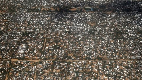 An aerial view of part of the Dadaab refugee camp