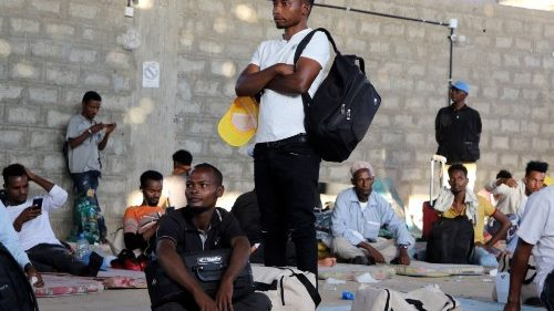 Ethiopian migrants at an IOM shelter in Aden