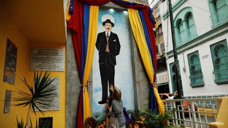 Un autel à Caracas en hommage à Jose Gregorio Hernandez, sur le lieu de sa mort.