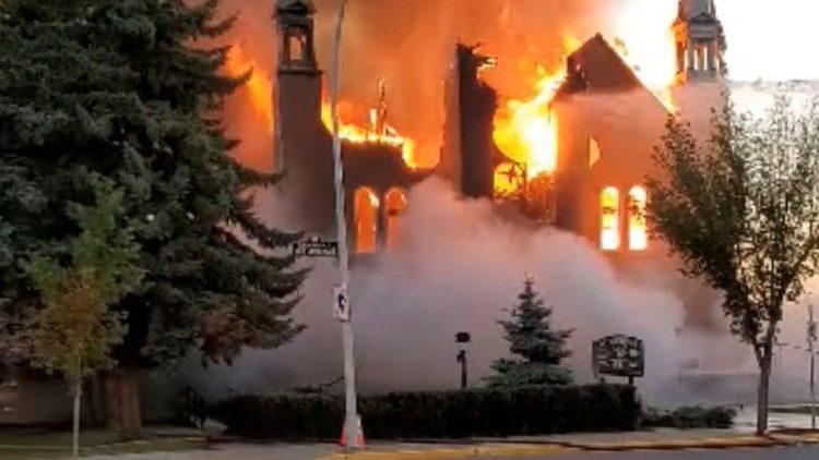 Une église de Morinville (Alberta), cible d'un incendie criminel en juin 2021.