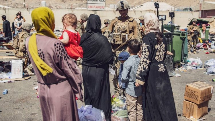 Soldiers conducting operations to evacuate civilians from Kabul