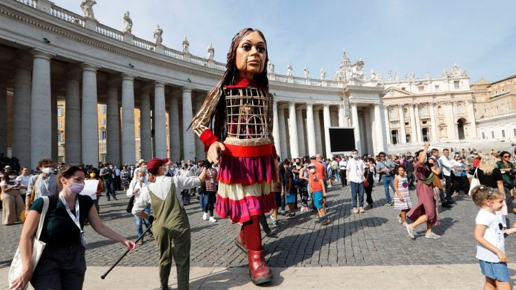 Little Amal in St. Peter's Square
