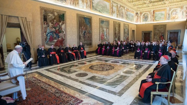 Pope Francis addressing participants in the plenary assembly of the Pontifical Council for Culture on Nov. 18, 2017