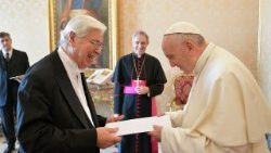 Mr. Mario Juan Bosco Zappettini presents his credential letters to Pope Francis