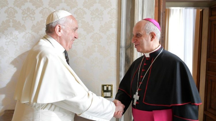 Pope Francis greets Archbishop Fisichella in January 2018