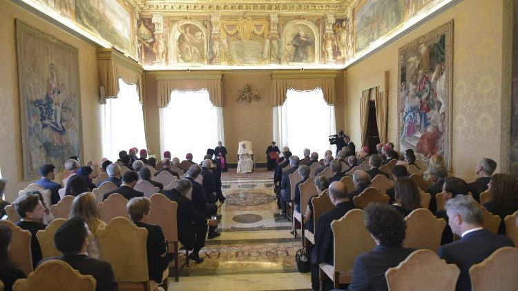 Pope Francis speaks about the plight of Christians in the Middle East, in an audience with members of ROACO