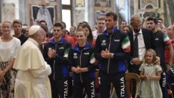 Pope Francis meeting swimmers participating in Rome's international Settecolli Trophy championship, on June 28, 2018.