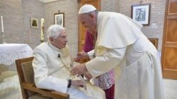 archive photograph of Pope Francis and the Pope Emeritus Benedict XVI