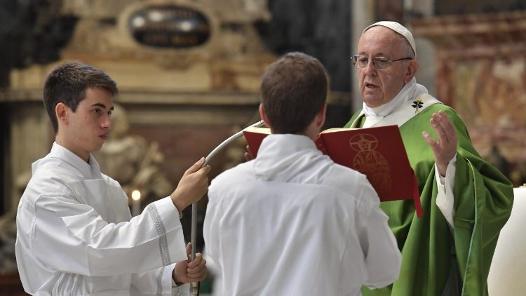 Pope Francis during the Holy Mass