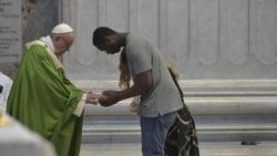 Pope Francis at Mass for migrants and refugees on July 6, 2018, in St. Peter's Basilica, Rome.