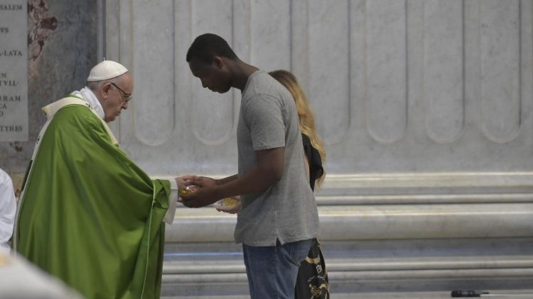 Pope Francis celebrated Holy Mass with refugees in Sacrofano, Rome