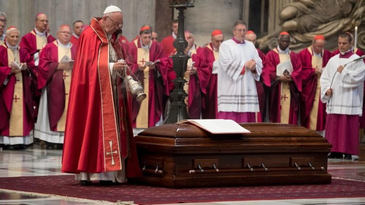 Pope Francis during the final incensation at the conclusion of the Requiem Mass for Cardinal Jean-Louis Tauran