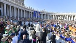 Pope Francis greets participants in the pilgrimage of altar servers