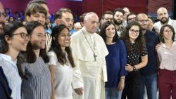 Pope Francis meets young people