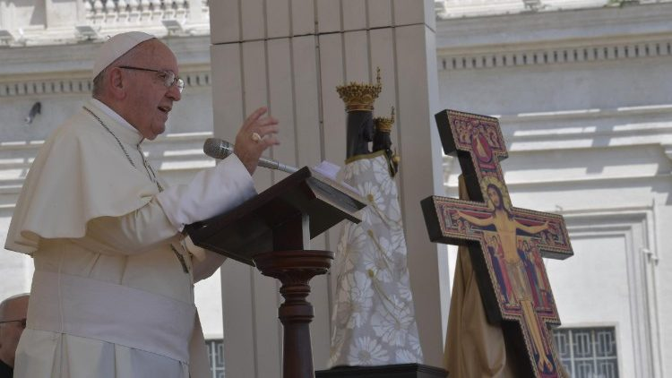 Pope Francis speaks ahead of the Angelus prayer
