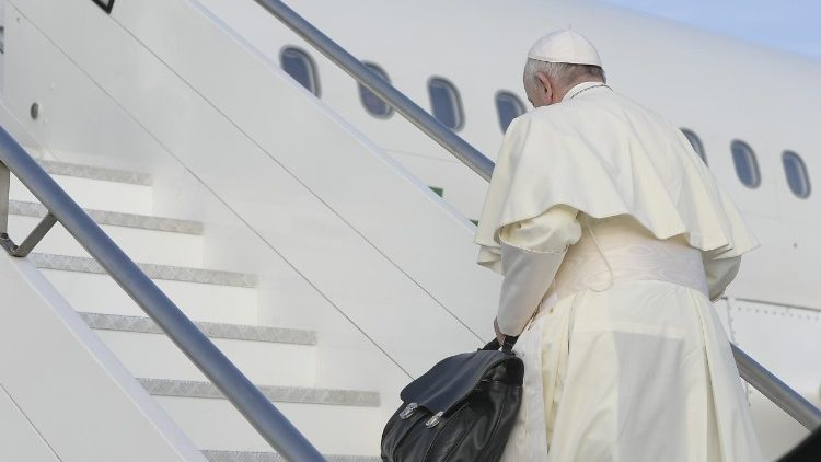 Pope Francis getting on his flight to Ireland at Rome's Fiumicino Airport