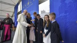 Pope Francis meets with a family during the World Meeting of Families in Dublin, Ireland 2018