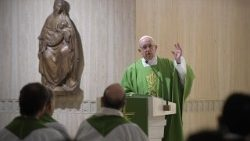 Pope Francis preaching during morning Mass at Casa Santa Marta