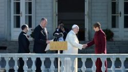 Pope Francis greets the President of Estonia