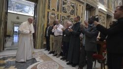 Pope Francis with priests of the Diocese of Crétiel, France
