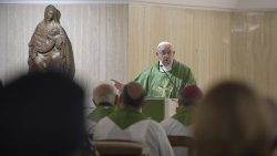 Pope Francis celebrating Mass at the Casa Santa Marta