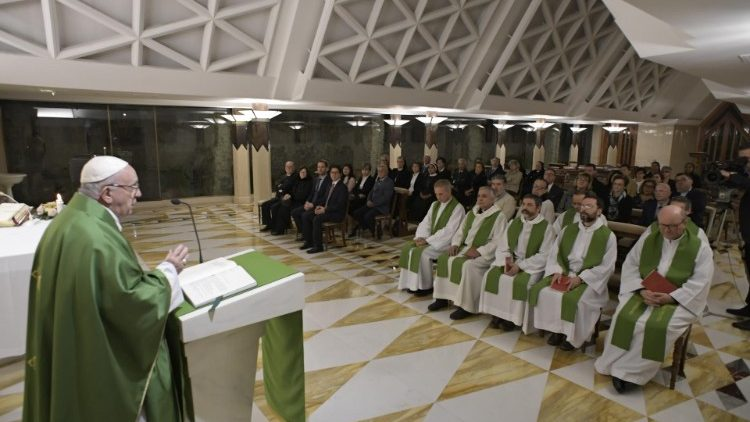 Pope Francis delivers the homily during the morning Mass at Casa Santa Marta