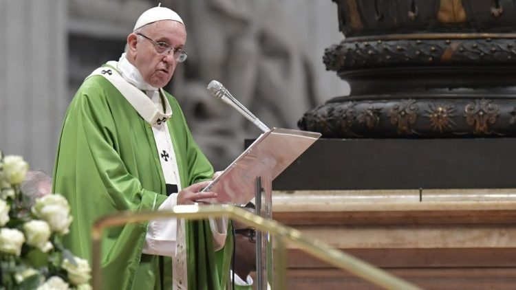 Pope Francis preaches the homily during the final Mass of the Synod on Youth