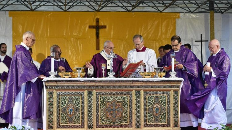 Pope Francis celebrates Holy Mass at the Laurentino Cemetery on the feast of All Souls.