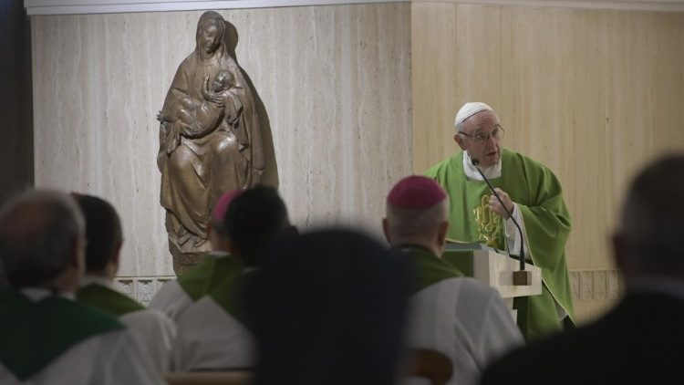 Pope Francis delivers the homily at the morning Mass at Casa Santa Marta