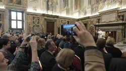 Pope Francis meets with German journalism faculty and students in the Clementine Hall