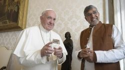Pope Francis and Kailash Sathyarthi in the Vatican on November 16 2018.