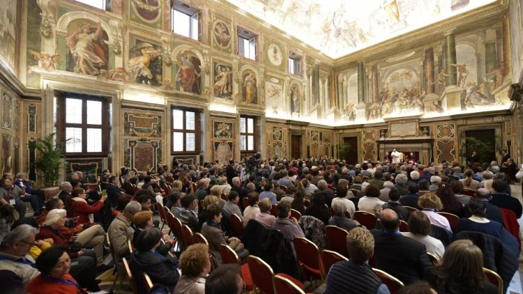 Pope Francis addressing members of the Apostolic Movement of the Blind on November 17, 2018.