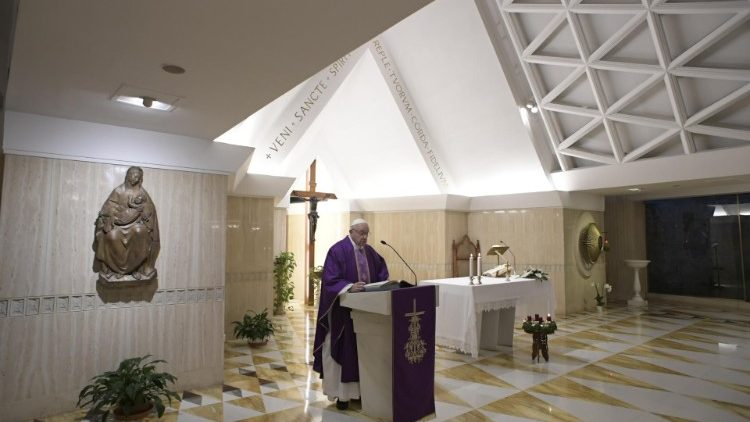 Pope Francis at Mass at the Casa Santa Marta on December 4, 2018.