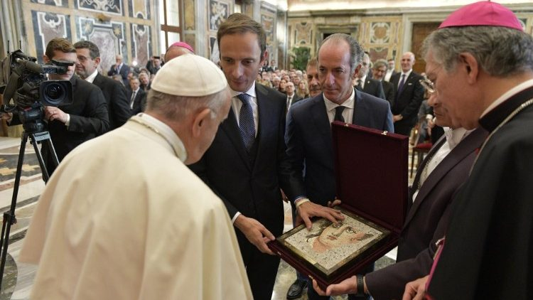 Pope with donors of the St Peter's Square Tree and Nativity Scene