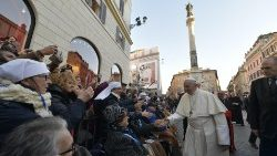 Pope greets the faithful gathered in Piazza di Spagna for the veneration of the image of Mary Immaculate