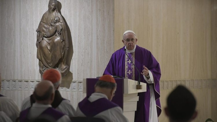 Pope Francis celebrates Mass at Casa Santa Marta