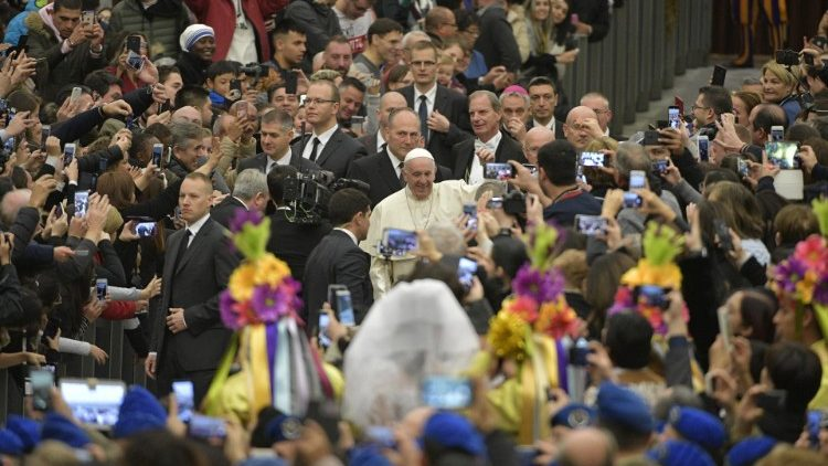 Pope Francis arrives at the General Audience in the Paul VI Hall