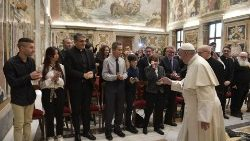 Pope Francis meeting officials, staff and collaborators of Telepace on December 13, 2018.