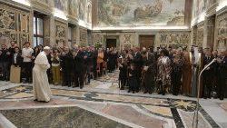 Pope Francis meets with artists performing in the Vatican's Christmas Concert