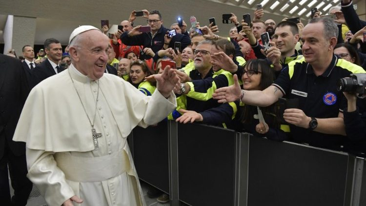 Pope Francis greets members of the National Civil Protection Service of Italy