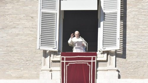Pope Francis prays the Angelus